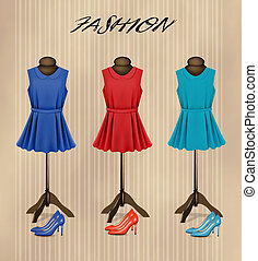 moda, colorito, shoes., boutique, vettore, retro, fondo, vestiti