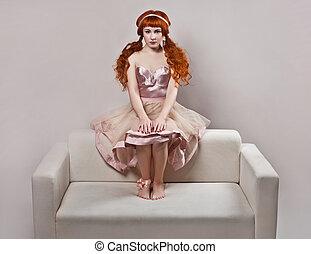 moda, colpo, di, donna, in, bambola, style.
