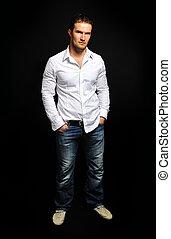 moda, colpo, vestito, europeo, contemporaneo, cloth., model., trendy, professionale, macho, man., uomo