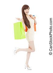Moda, compras, bolsa, Longitud, Lleno, retrato, niña
