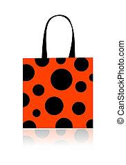 moda, compras, su, aislado, guisantes, bolsa, diseño