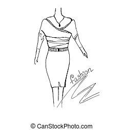 moda, concepto, bosquejo, vector, ilustración
