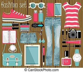 moda, conjunto, en, un, estilo, plano, design.