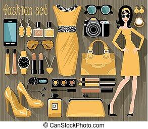 moda, conjunto, en, un, estilo, plano, diseño