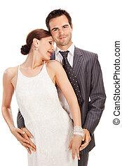 moda, coppia, bianco, colpo studio
