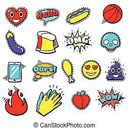 moda, coração, remendo, fala, bolhas, emblemas