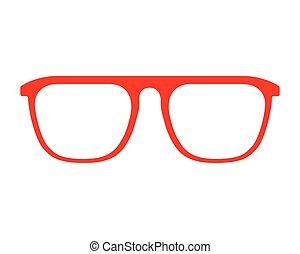 moda, cornice, isolato, disegno, rosso, occhiali