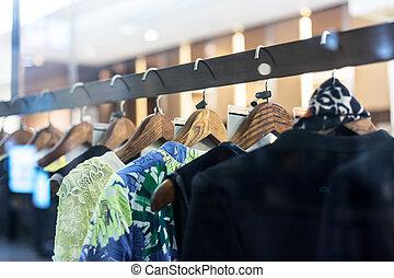 moda, cremalheira roupa, exposição