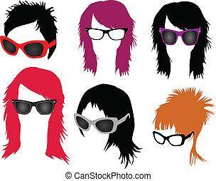 moda de pelo, -, anteojos, mujeres