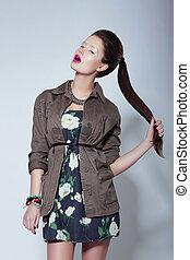 moda, dela, tress, elegante, segurando, trendy, modelo,...
