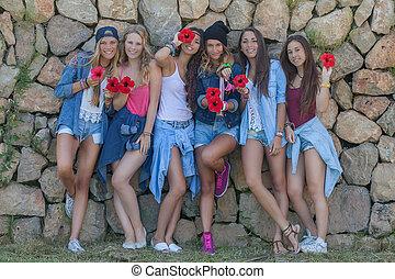 moda, denim, adolescentes, feliz, grupo