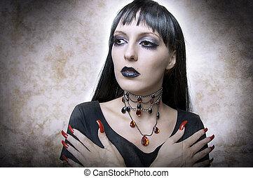 moda, dia das bruxas, concept., retrato, vampiro