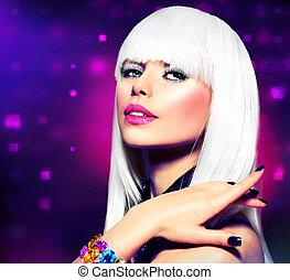 moda, disco, chica partido, portrait., púrpura, maquillaje, y, pelo blanco