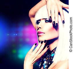 moda, discoteca, menina partido, portrait., roxo, maquilagem, e, cabelo branco
