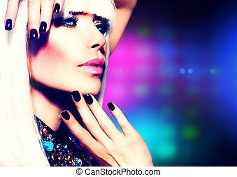 moda, discoteca, ragazza festa, portrait., viola, trucco, e, capelli bianchi