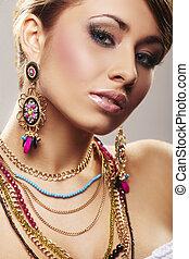 moda, donna, con, gioielleria