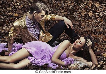moda, e, attraente, giovane coppia