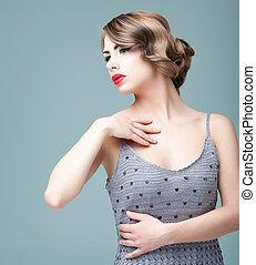Moda,  e, belleza, joven, Posar, mujer, retrato, rubio
