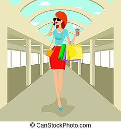 moda, el caminar de la mujer, con, bolsas de compras, hablar teléfono, en, centro comercial