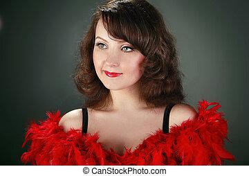 moda, elegante, mujer, con, labios rojos, bastante, y, lujo, retrato