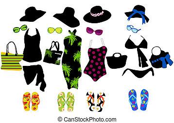 moda, elementi, per, spiaggia