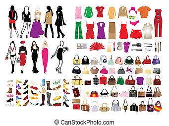 moda, elementos, para, mulheres