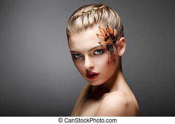 moda, ella, venenoso, araña, cara, spider-girl, retrato,...