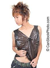 moda, emo, coreano, adolescente, postura