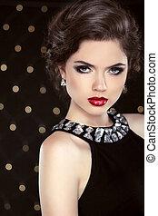 moda, encanto, elegante, retrato de mujer, con, labios rojos, y, hairsty