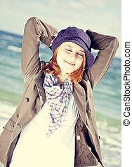 moda, ensolarado, jovem, day., praia, mulheres