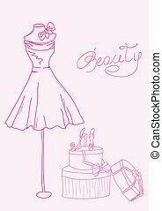 moda, estilizado, doodles, -, dama, vestido, y, shoes