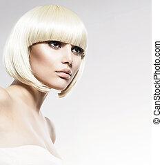 moda, estilo, belleza, modelo, portrait., corte de pelo