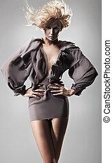 moda, estilo, foto, de, dama joven