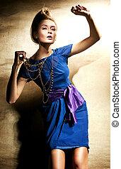 moda, estilo, foto, de, hermoso, rubio, dama