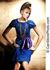 moda, estilo, foto, de, hermoso, rubio