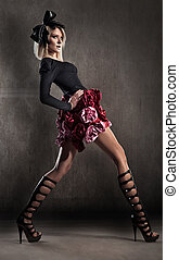 moda, estilo, foto, de, um, senhora jovem