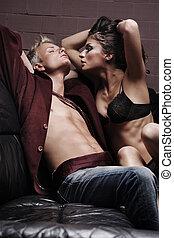 moda, estilo, foto, de, un, atractivo, pareja