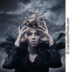 moda, estilo, foto, de, un, gótico, mujer