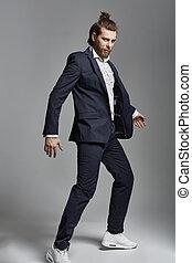 moda, estilo, foto, de, un, guapo, hombre