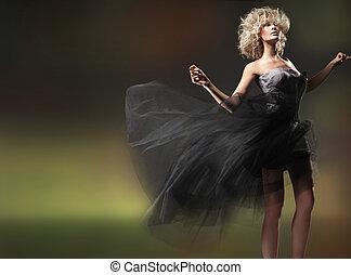 moda, estilo, foto, de, un, lindo, rubio, belleza