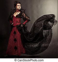 moda, estilo gótico, modelo, niña, retrato