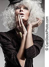 moda, estilo, retrato, de, um, mulher bonita