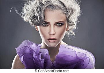 moda, estilo, retrato, de, um, senhora jovem