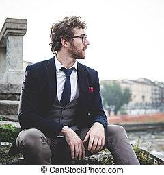 moda, estilo vida, elegante, hipster, atraente, homem