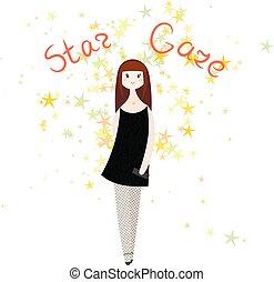 moda, estrela, olhar, clube, doodle, girl., pódio, vetorial, model., woman.
