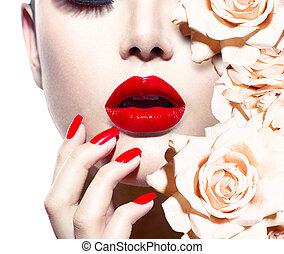 moda, excitado, mulher, com, flowers., voga, estilo, modelo