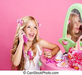 moda, falando, móvel, boneca, telefone, loura, menina, crianças