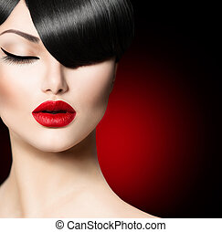 moda, fascino, bellezza, ragazza, con, trendy, frangia,...
