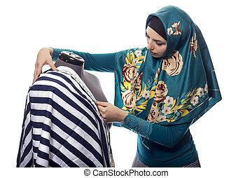 moda, femmina, progettista, stesso, hijab, o, il portare, ...