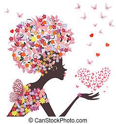 moda, flores, menina, com, um, coração, de, borboletas